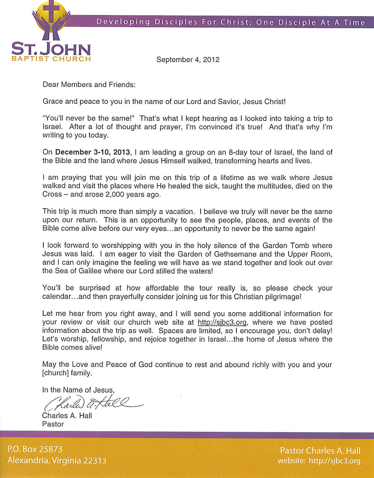 Sandle Church Invitation Letters Pastor Anniversary ...